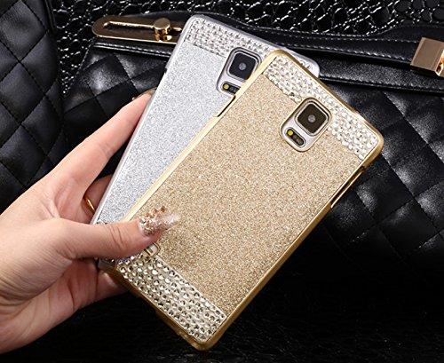 Coque Galaxy Note 4 N9100 , Fugou® Bling Cristal Strass Diamonds Slim Fit Hard Arrière Coque rabat Pour Samsung Galaxy Note 4 N9100 (Doré)