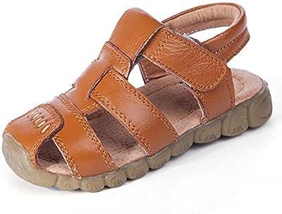 Highdas Chicos Suave Cuero Sandalias Bebé Chicos Verano Prewalker Suave Único Auténtico Cuero Playa Sandalias