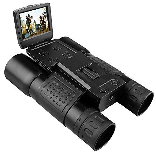 Prismáticos digitales, Prous DT07 Ultra HD 12 x 32 prismáticos de cámara digital 5 pulgadas plegable telescopio cámara para ver, caza y negro