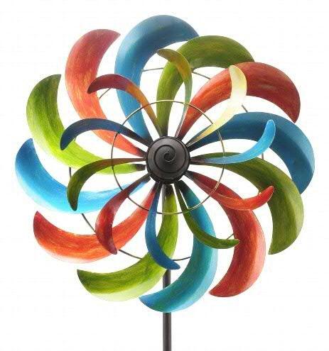 XL Windrad Garten - Rund & Bunt/Metall - Ø 60cm/Höhe: 230cm - Wetterfest - Hochwertige Qualität & Stabiler Standstab - Gartenstecker/Metallwindrad/Windräder - Gartenwindrad