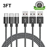 Cble USB de type C, Kmiss [Lot de 3] en nylon tressé 3 m Long Cord-usb données Charge cble de chargement pour Galaxy Note 8, S8, S8 +, MacBook, Nintendo, Switch, LG V20 G5 G6, HTC 10