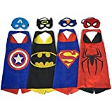 Superhero Dress Up Costumes 4 Satin Capes and 4 Felt Masks for kids