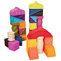 B. toys - Elemenosqueeze Baby Blocks - 26 Stacking Blocks with Shapes Numbers, Animals & Textures - BPA Free Soft Blocks for Babies 6m+ (26-Pcs)