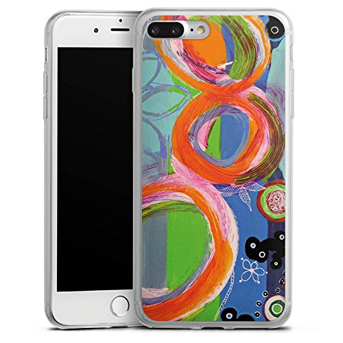 Apple iPhone 8 Plus Slim Case Silikon Hülle Schutzhülle Abstrakt Muster Kreise Silikon Slim Case transparent