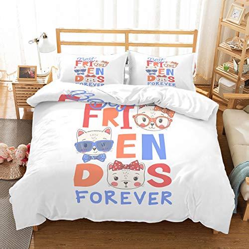 MOUMOUHOME Tier Karikatur Muster Bettwäscheset,100% Mikrofaser Bettbezug-Set für Mädchen,Jungen,Jugendliche,Erwachsene,Kinder,3 Stück,Blau/Weiß/Orange,Keine Bettdecke -