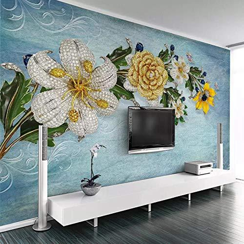 Fototapete 3D Effekt Moderne Mode 3D Schmuck Blume Wohnzimmer Sofa Tv Hintergrund Wanddekoration Malerei Benutzerdefinierte Wandbild Tapete Wohnkultur 250X175 Cm