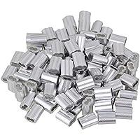 BQLZR 2,5mm plata M2,5doble loop Funda Clips para cuerdas de alambre de prensa terminales de cable (aluminio, 100unidades)