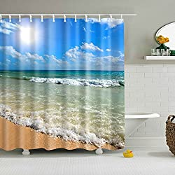 Magideal Waterproof Polyester Bathroom Shower Sheer Curtain Panel Decor w/ Hooks #7
