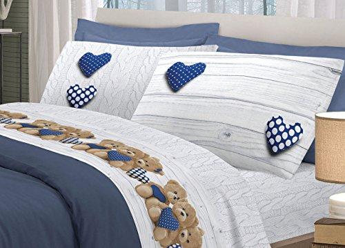 Biancheriaweb completo lenzuola in 100% cotone disegno new orsetti matrimoniale blu