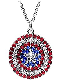 Officially Licensed Marvel Comics Red White and Blue Captain America Shield Pendant Necklace