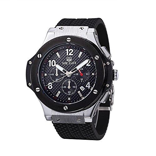 Shining Watch Herren Design Zifferblatt Chronograph Militär Auto Datum Quarz Sport Silikon Armbanduhr