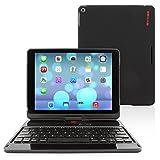 "Snugg iPad Air und New iPad 2017 9.7"" 360 Grad Tastatur Case (Schwarz) - Hülle mit drehbarer Bluetooth Tastatur (QWERTY - UK Keyboard)"