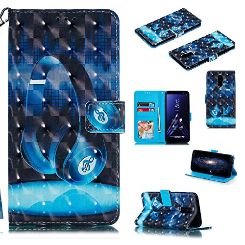 Preisvergleich Produktbild Nadoli Wallet Handyhülle für Galaxy A6 Plus 2018, Kreative 3D Headset Muster Taljereep Ständer Flip Ledertasche Brieftasche Schutzhülle Etui für Samsung Galaxy A6 Plus 2018