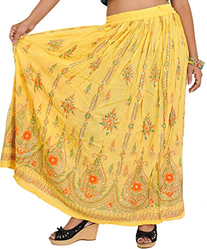 Exotic India Long Skirt With Printed Flowers and Embroidered Sequins - Color...