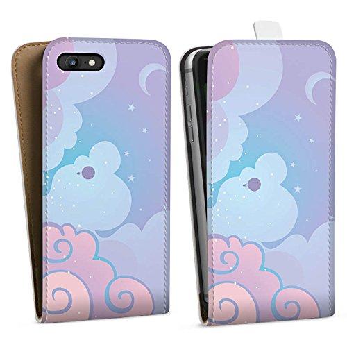 Apple iPhone X Silikon Hülle Case Schutzhülle Wolken Himmel Sterne Downflip Tasche weiß