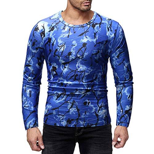 Fashion Joker Slim Rundhalsausschnitt Casual Print Langarm Herren Hemd Blau und Schwarz(Blau,M)