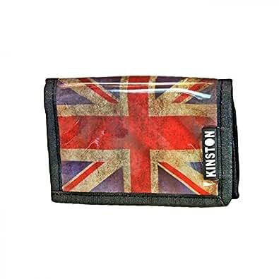 Shopping-et-Mode - Porte-cartes - Portefeuille Kinston en tissu plastifié imprimé Union Jack - Noir, Tissu