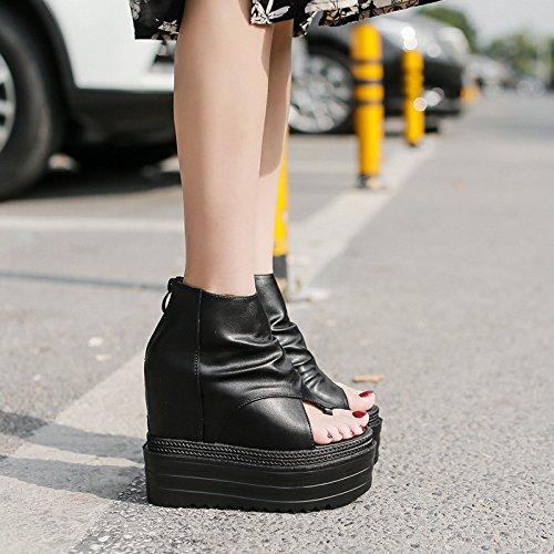 GTVERNH-nella primavera del nero 8.5cm scarpe dito in bocca del pesce più forte pendio con donna gli stivali impermeabili high heeled sandali muffin,39 Thirty-eight