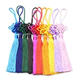 10pcs 8.5 Inch Handmade Silky Floss Chinese Tassel with Satin Silk Made Chinese Knots for Door and Car Handing Decoration, DIY Craft (Mixed)