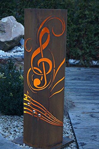 8-Eck Säule La Traviata + Schale Classic Edelrost Rost Metall Gartendeko Garten Stele