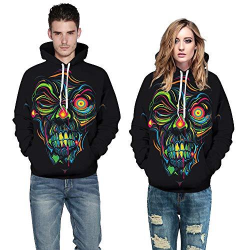 Halloween Frauen Männer Ghost 3D Druck Langarm Hoodie Sweatshirt Pullover Top (Mechaniker Kostüm Frauen)