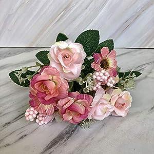 Ramo de rosas artificiales MA87 para novia, boda, fiesta, decoración del hogar, Morado, Medium