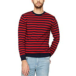 Indian Terrain Mens Round Neck Stripe Sweater