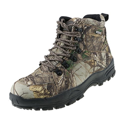FLAMEER Mens Camo Outdoor Hunting Boots Snow Boots Waterproof Antiskid Fishing Walking Hiking Shoes
