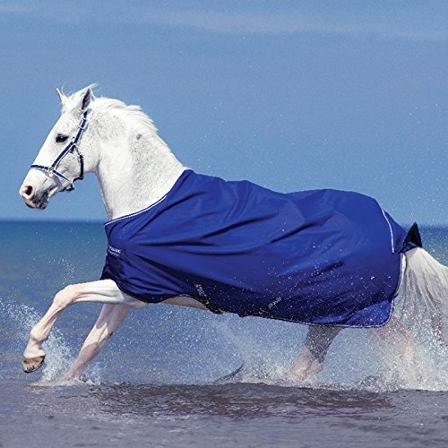 Horseware Amigo Hero 6 Turnout PONY light 0g - Atlantic Blue/Atlantic Blue&Ivory - Weidedecke, Groesse:95 -