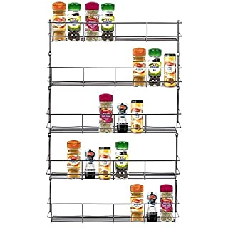 FINEWAY Chrome 5 Tier Spice Herb Jar Rack Holder For Home Kitchen Door Cupboard Storage or Wall Mountable