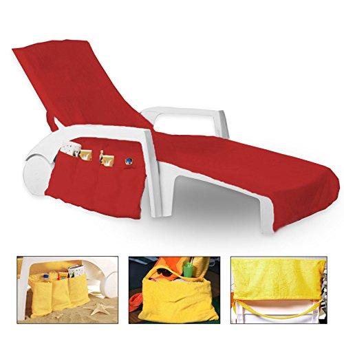 Frottee Schonbezug für Gartenliege Strandliege Liegenbezug 70 cm x 200 cm mit 6 TASCHEN (Rot)