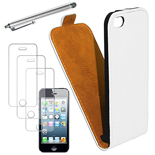 ebestStar - pour Apple iPhone 5C - Housse Coque Etui à rabat PU cuir ULTRA FIN (ultra slim case) + Stylet tactile + 3 Films protection écran, Couleur Vert [Dimensions PRECISES de votre appareil : 124. Blanc