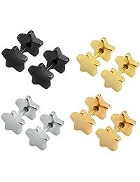 ZeSen Jewelry 4 Pares 16g Pendientes Falsas Dilataciones cartílago de la Concha del oído del Perno