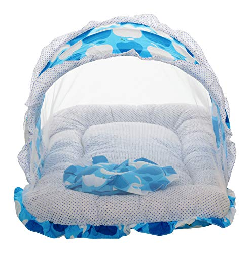 VParents Jumbo Extra Large Baby Bedding Set with Mosquito net and Pillow (0-20 Months) (Blue) Image 4