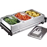 Cooks Professional 3 Section Buffet Warmer Hotplate & Food Server, with 3 x