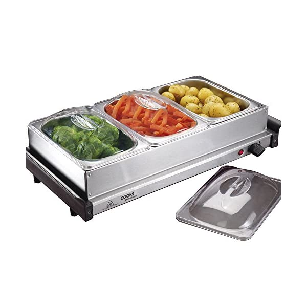 3 Section Buffet Warmer Hotplate & Food Server, Hostess with Serving Trays & Adjustable Temperature Control, 200W by Cooks Professional 51betHZEWHL