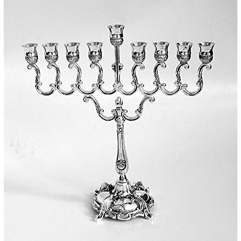 Chanukah menorah, placcato nichel, design tradizionale, misura piccola, per bambini, soggetto: menorah