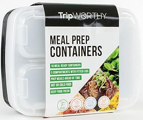 Boite de préparation des repas avec 3 compartiments – Contrôle des portions, sans BPA, réutilisables, adapté pour le micro-onde, style bento – Set de 10