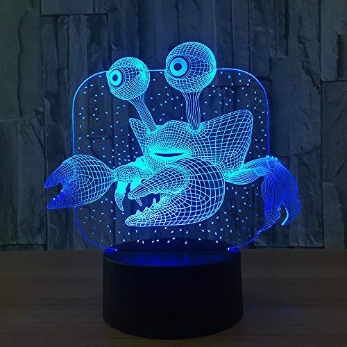 Krabbe 3D Lampe USB Neuheit Geschenke 7 Farben -