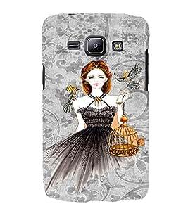 PrintVisa Fashion Bird Girl Dress Design 3D Hard Polycarbonate Designer Back Case Cover for Samsung Galaxy J1