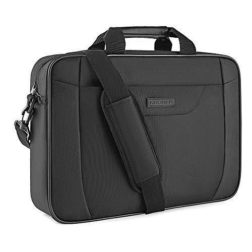 KROSER Laptop Tasche 15.6 Zoll Notebooktasche Aktentasche Tablet Tasche Schulter Umhängetasche Wasserabweisend Satchel Bussiness Laptoptasche für Frauen und Männer-Schwarz MEHRWEG (Satchel Schwarze 20 Unter)