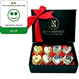 """Organic Bath Bombs """"Sweet Love"""" 8-Piece Set / High-Quality Bath Pralines In Elegant Gift Box With Real Satin Bow / Extraordinary Present Idea For Women / Vegan With Shea Butter"""