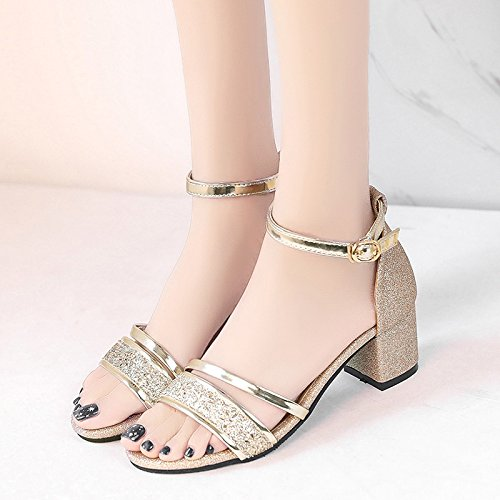 della Scarpe Gold UE Toe Scarpe fibbia Donne sandali RUGAI estive Rw7TqT0