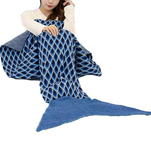 Newhaa Handgemachte Meerjungfrau Schwanz Decke Schlafsack für Kinder und Erwachsene häkeln alle Jahreszeiten warme gestrickte Bettdecke Sofa Quilt Wohnzimmer, Marine -