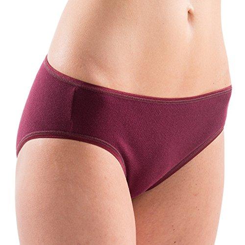 HERMKO 1031 Damen Midi-Slip 4er Pack (Weitere Farben), Farbe:Bordeaux, Größe:40/42 (M)