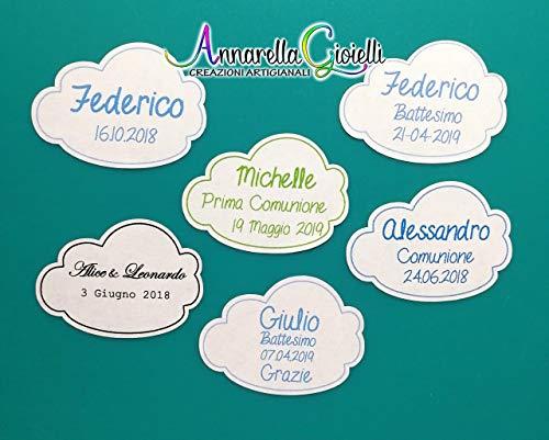 Adesivi personalizzati nuvoletta, 30x40mm etichette matrimonio, battesimo, thank you stickers, grazie, comunione, cresima, laurea, adesivo nuvola