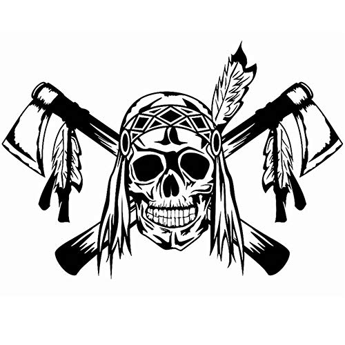 wandaufkleber 3d Wandtattoo Kinderzimmer Schädel Federn Axt Indische Aufkleber Punk Tod Aufkleber Horror Halloween Teufel Poster Name Autofenster Kunstwanddekor Wandbild (Namen Fische Für Halloween)