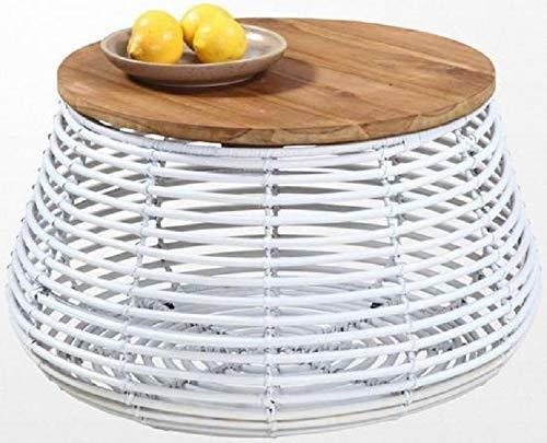 francky-shop Couchtisch, rund, aus Rattan, Weiß, Teakholz, Ethno-Stil -