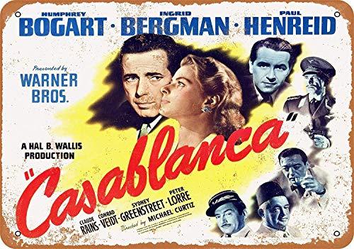 Wise Degree Metal Poster Casablanca Movie Metall Poster Wand Küche Kunst Cafe Garage Shop Bar Dekoration (Pins Zum Verkauf)