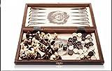 3 en 1 Backgammon Unido - ajedrez de madera de Handracfted grande 35cm/13,7 en conjunto Backgammon Checkers / damas